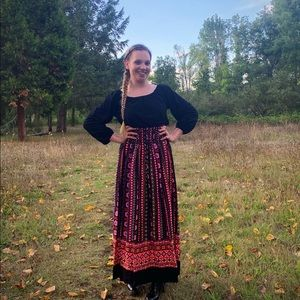 Vtg 1970's L/S Boho Festival barkcloth Maxi Dress